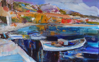 Boats in Kalkan harbour by Anna Martin
