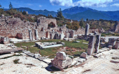 Xanthos Basilica with mosaic floor tiling