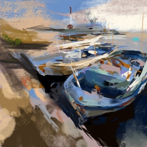 photo 2 (7).JPG ipad painting boats in harbour Anna