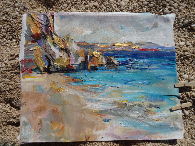 Acrylic painting beach Anna