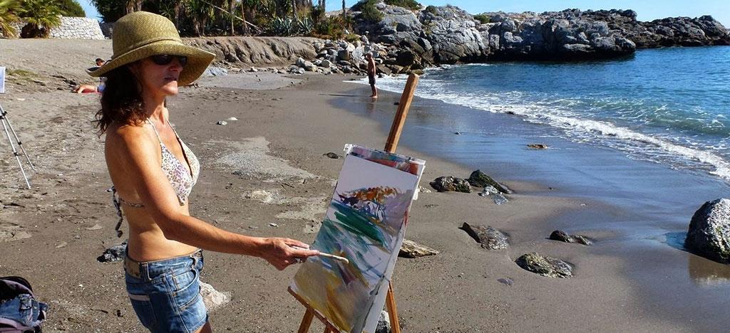Anna-Martin-Painting-on-Beach-Frigiliana-Spain