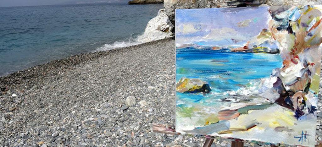 Painting of Cliffs Edge Frigiliana Spain
