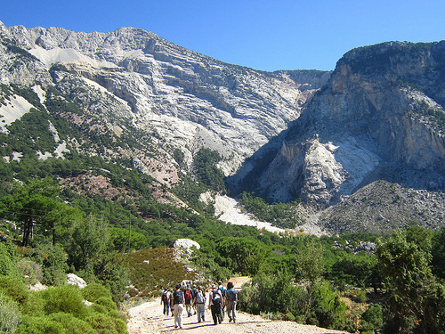 Group of Holiday Makers Walking Lycian Way in Turkey
